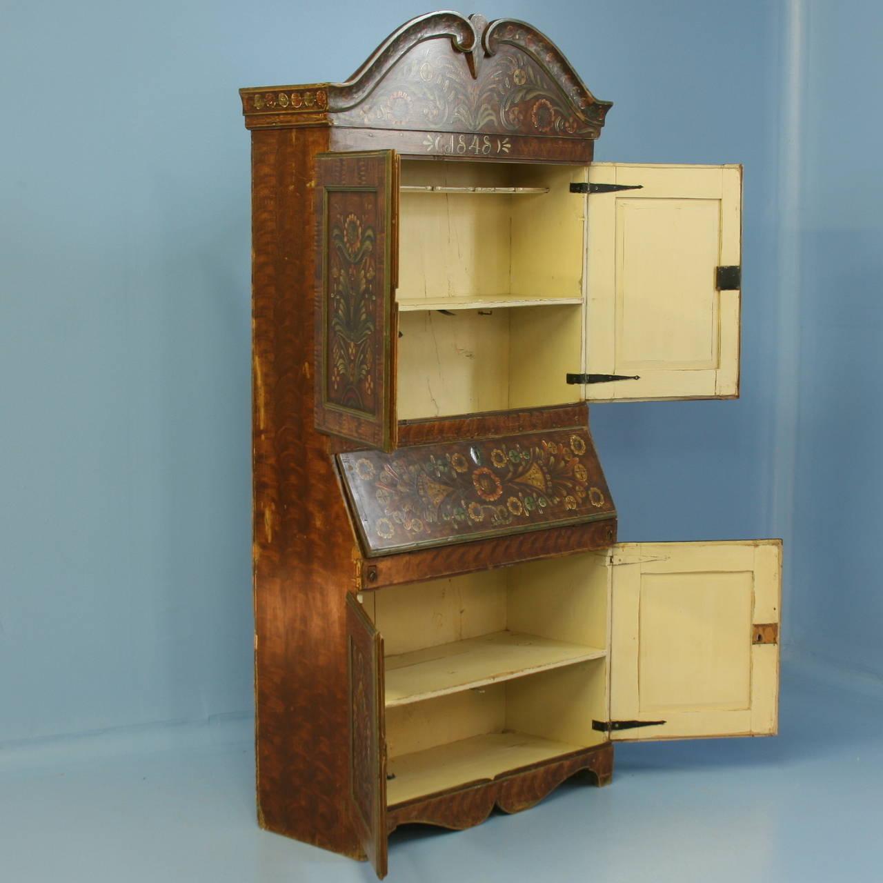 antique original painted swedish secretaire bureau dated. Black Bedroom Furniture Sets. Home Design Ideas