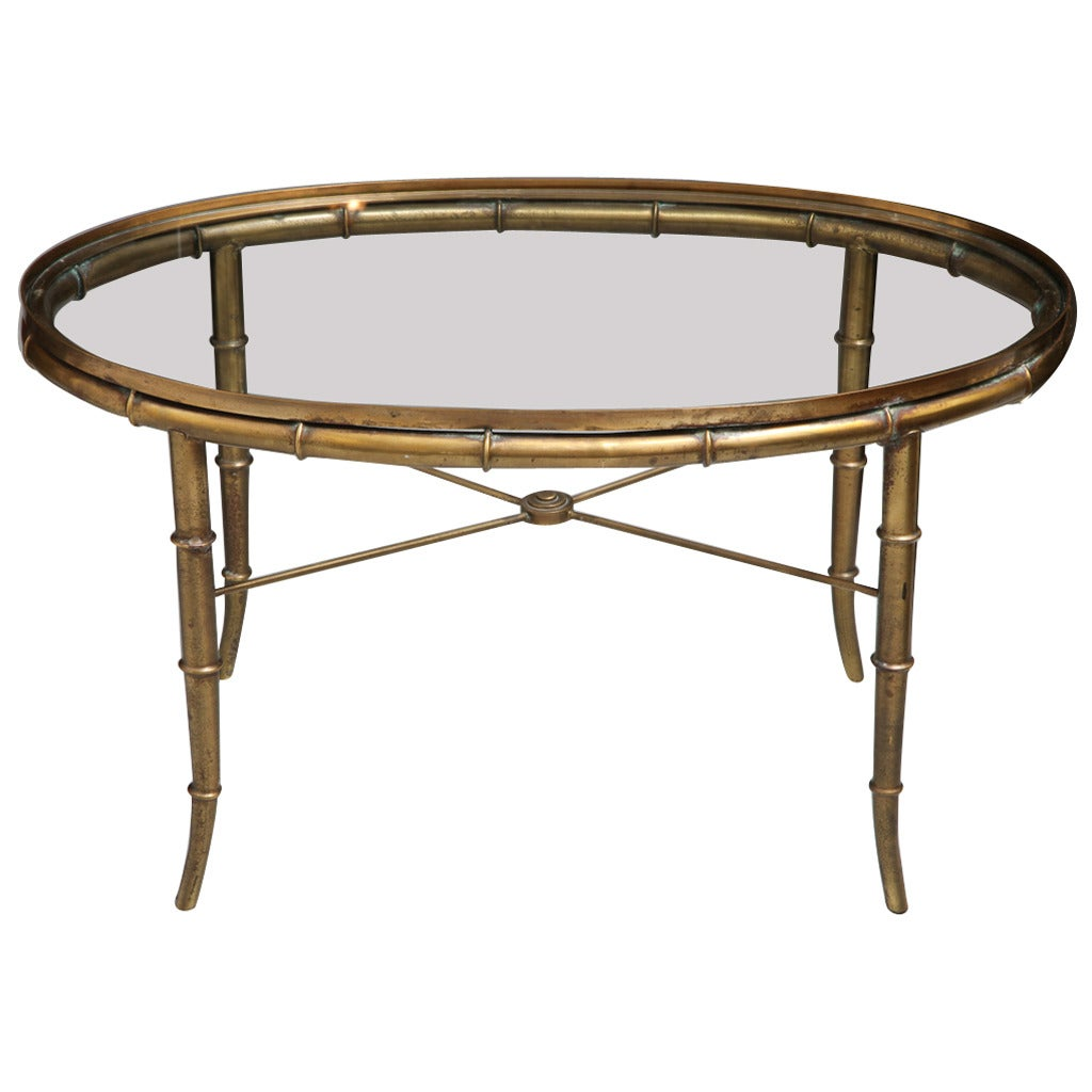 Brass Faux Bamboo Coffee Table: Mastercraft Faux Bamboo Coffee Table For Sale At 1stdibs