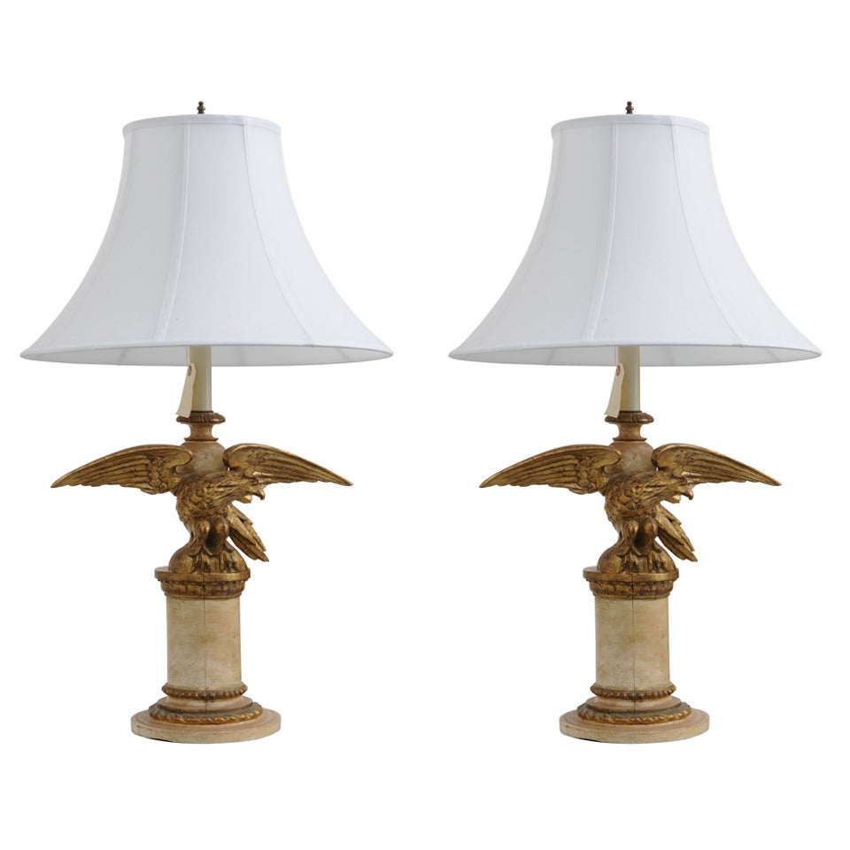 pair of italian vintage carved wood eagle lamps for sale at 1stdibs. Black Bedroom Furniture Sets. Home Design Ideas
