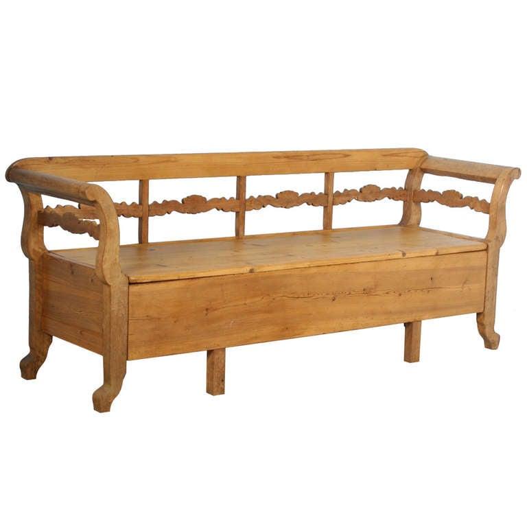 Antique Karl Johan Swedish Pine Bench With Storage Circa