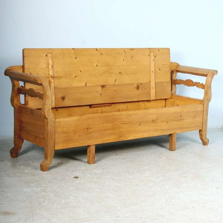 Antique Karl Johan Swedish Pine Bench With Storage Circa 1860 80 At 1stdibs
