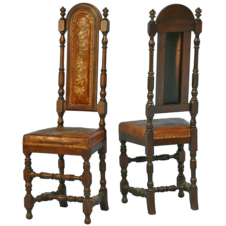 Pair, Antique Leather Embossed Painted High Back Chairs ...