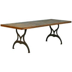 Large Vintage Industrial Style Table, Iron Legs & Reclaimed Wood Top, circa 1920