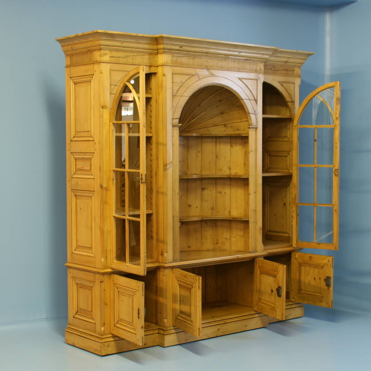 Large English Pine Bookcase Display Cabinet For Sale At