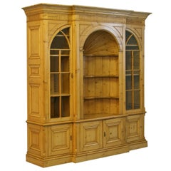 Large English Pine Bookcase Display Cabinet