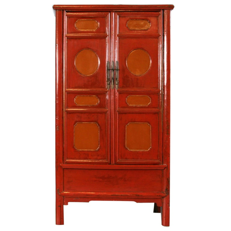 Antique lacquered chinese cabinet original paint for sale for Antique asian cabinet