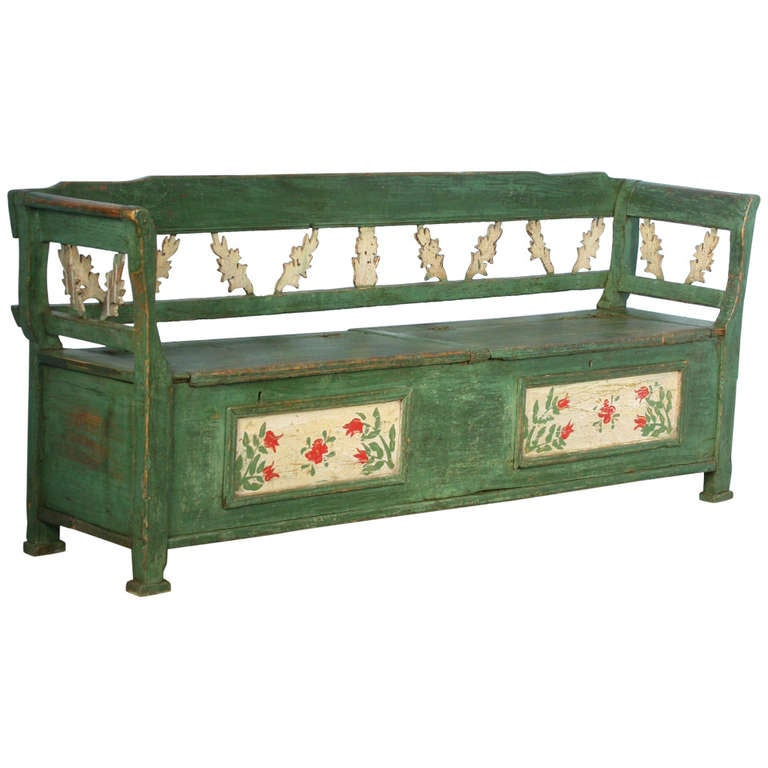 Antique Original Green Painted Bench With Storage At 1stdibs