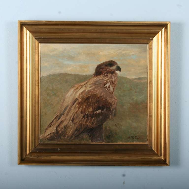 Antique Oil Painting of Hawk/Falcon, Signed - Denmark circa 1880 2