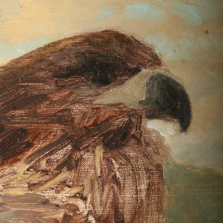 Antique Oil Painting of Hawk/Falcon, Signed - Denmark circa 1880 4