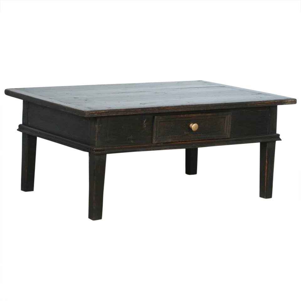 Antique Black Coffee Table With Drawer Denmark Circa 1880 At 1stdibs