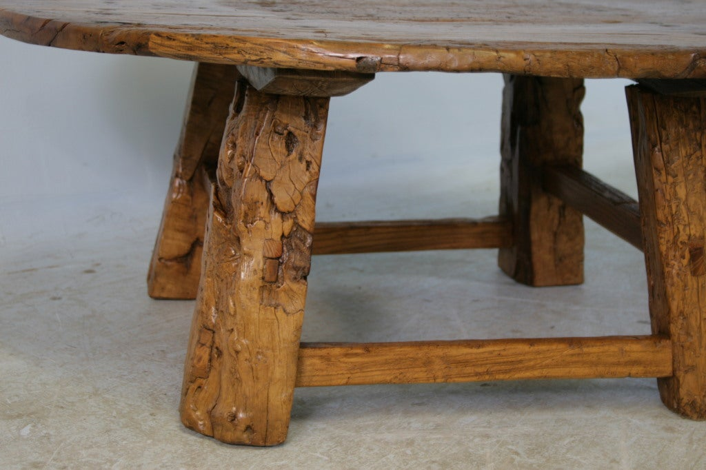 Round Rustic Antique Chinese Coffee Table At 1stdibs