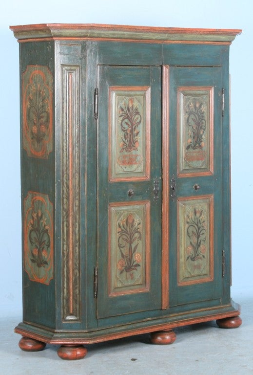 Antique German Painted Armoire With Beautiful Floral