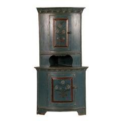 Antique Hand Painted Blue Swedish Corner Cupboard