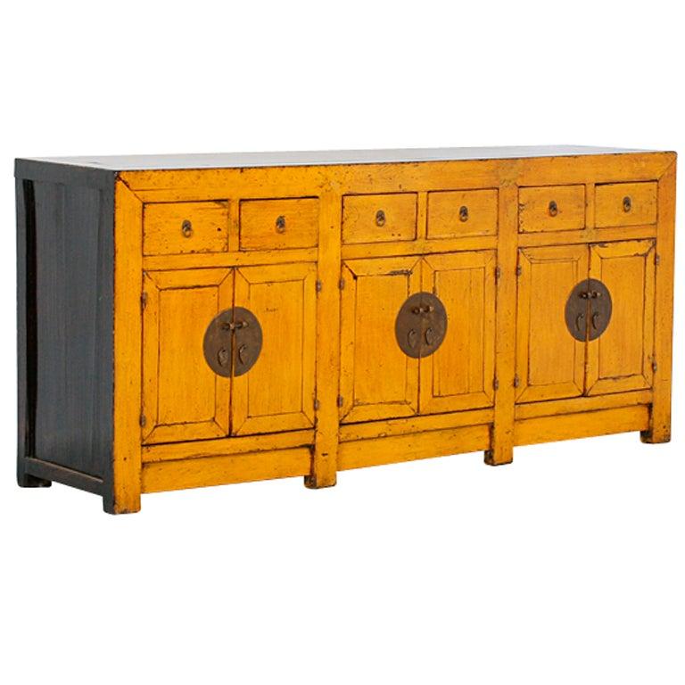 Original Painted Yellow Chinese Sideboard At 1stdibs