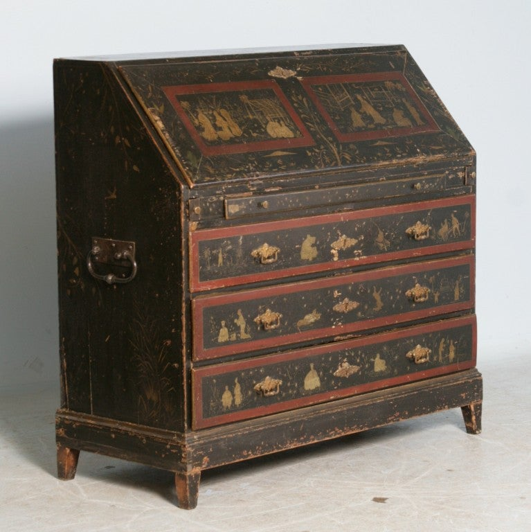 19th Century George III English Secretary Painted in Chinese Style