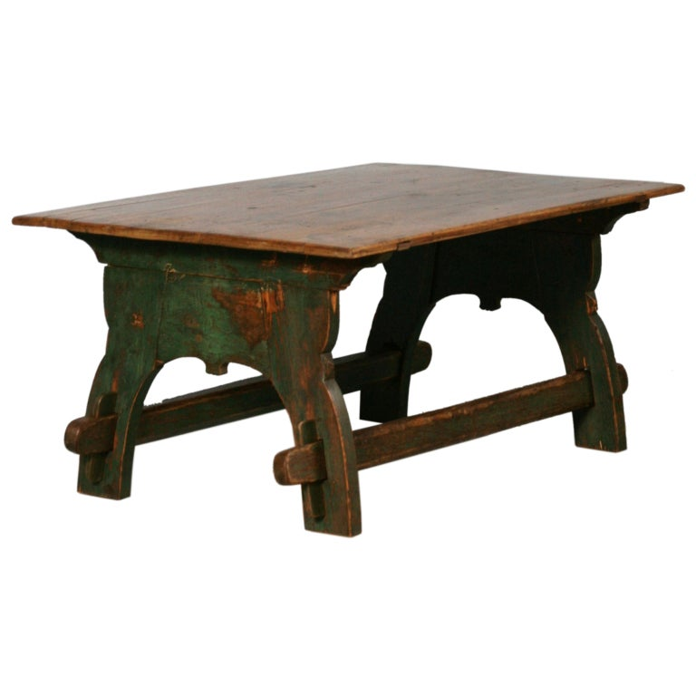 Painted Trestle Base Swedish Coffee Table At 1stdibs