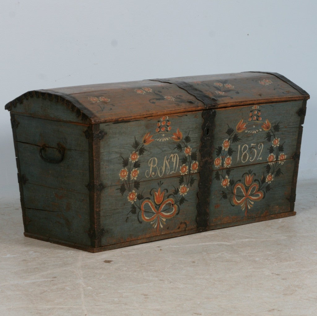 Original Blue Painted Antique Swedish Trunk, Hidden Compartment image 2