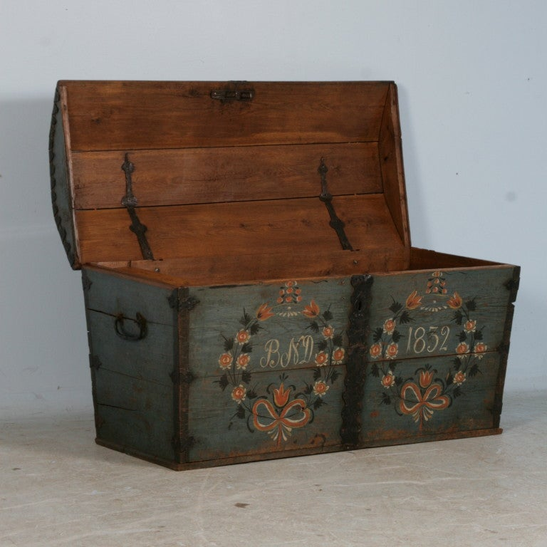 Original Blue Painted Antique Swedish Trunk, Hidden Compartment at 1stdibs