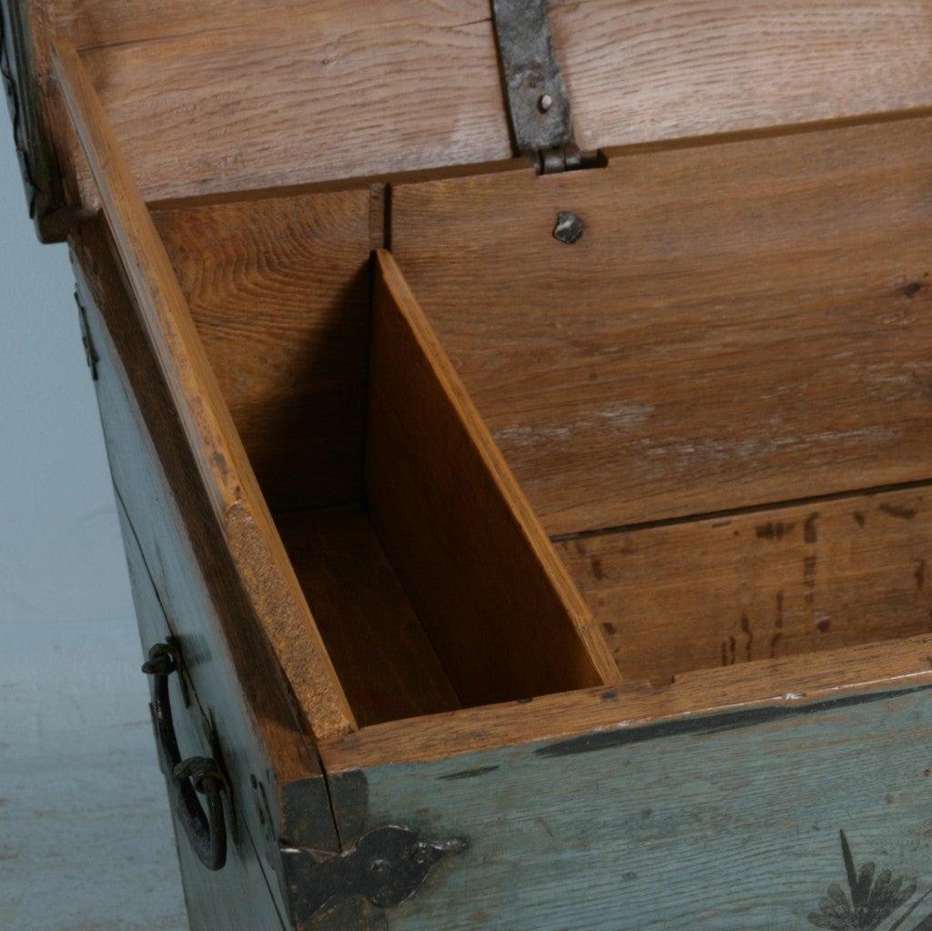 Original Blue Painted Antique Swedish Trunk, Hidden Compartment image 4