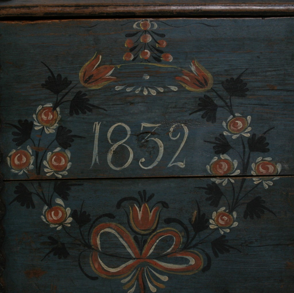 Original Blue Painted Antique Swedish Trunk, Hidden Compartment image 5