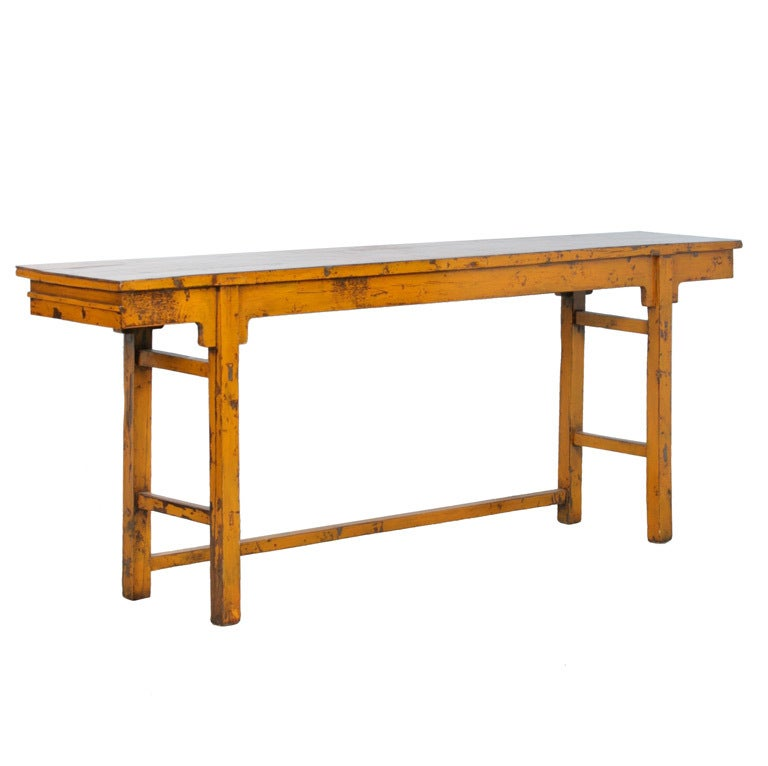 Long narrow antique lacquered yellow console sideboard at for Very long narrow console table
