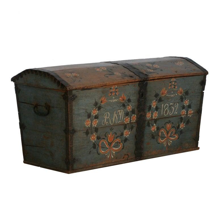Original Blue Painted Antique Swedish Trunk, Hidden Compartment