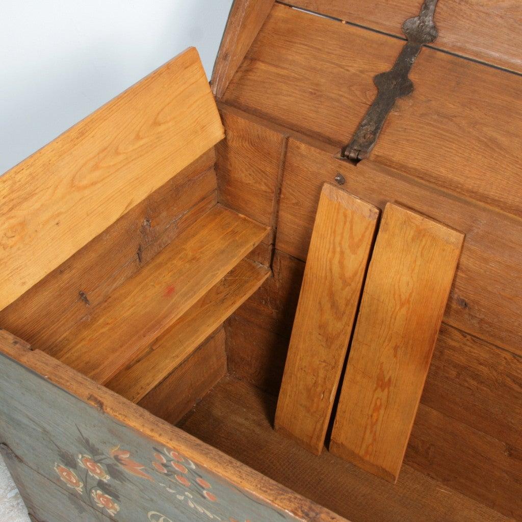 Original Blue Painted Antique Swedish Trunk, Hidden Compartment 8