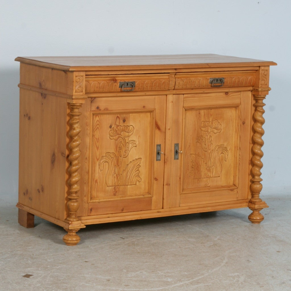 Antique danish pine sideboard carved panels and barley for Sideboard pinie