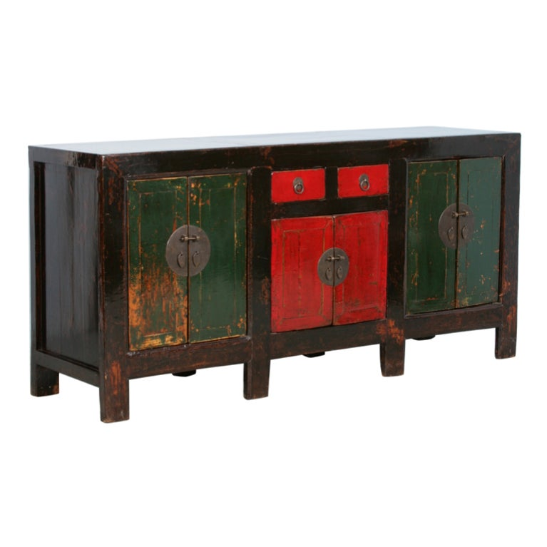 Large antique original painted lacquered chinese sideboard for Chinese art furniture