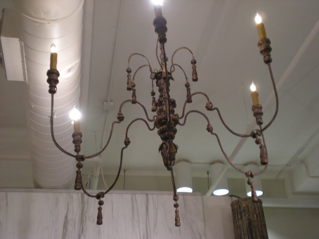 French metal and wood chandelier at 1stdibs for Wood pendant chandelier