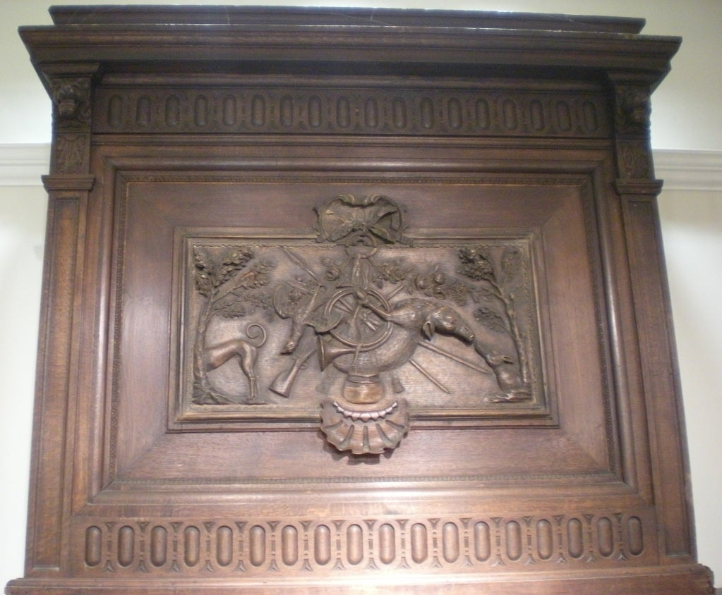 Rare 18th & 19th Century French (Normandy) Carved Oak & Limestone Mantel In Good Condition For Sale In Nashville, TN