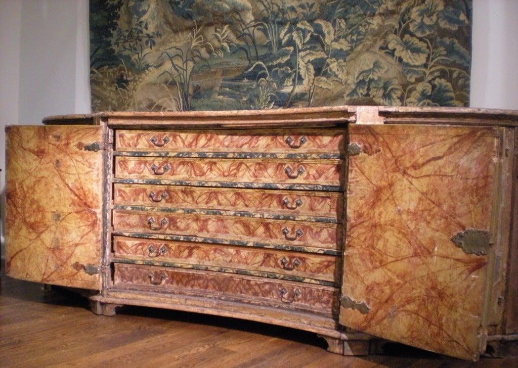 Rare & Impressive 17th Century Painted Italian Credenza, Monumental Size In Fair Condition For Sale In Nashville, TN