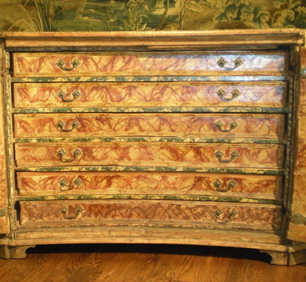 18th Century and Earlier Rare & Impressive 17th Century Painted Italian Credenza, Monumental Size For Sale
