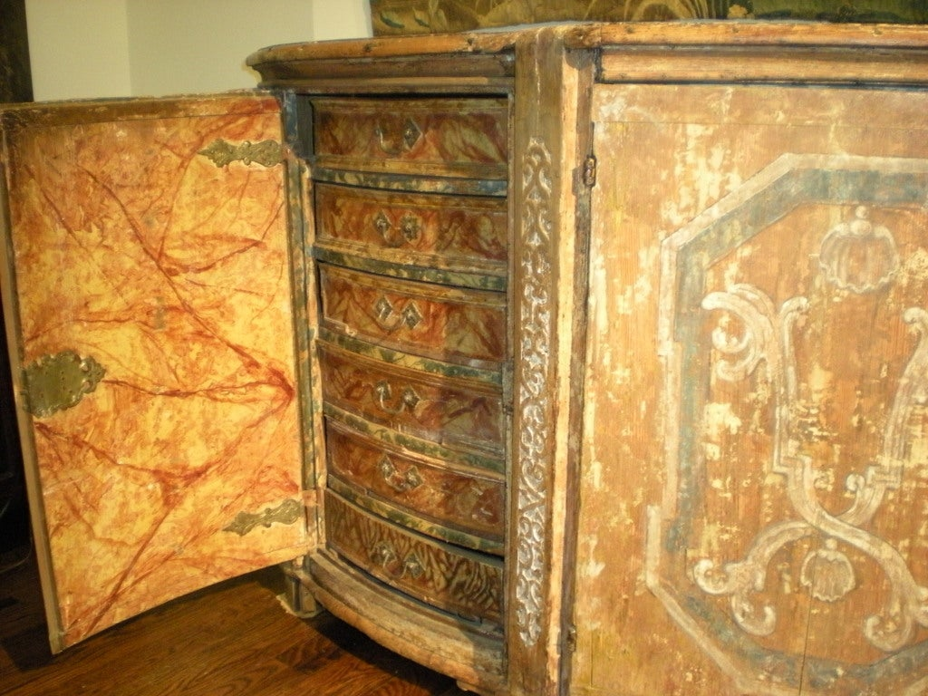 Wood Rare & Impressive 17th Century Painted Italian Credenza, Monumental Size For Sale