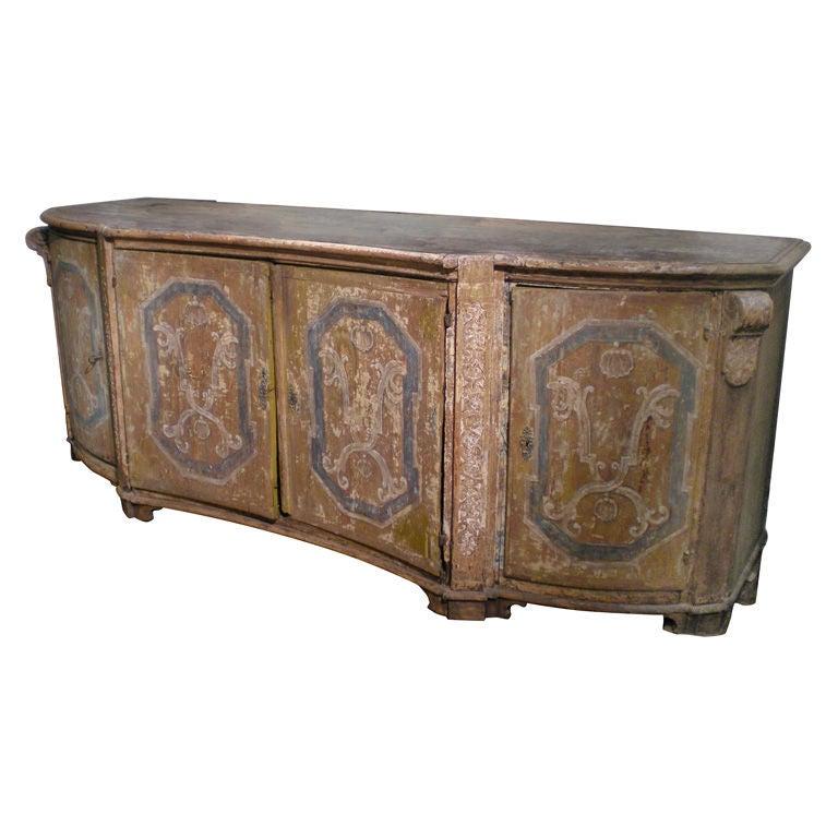 Rare & Impressive 17th Century Painted Italian Credenza, Monumental Size For Sale