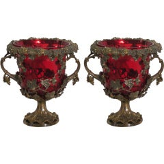Pair of Red Glass and Lined Coolers