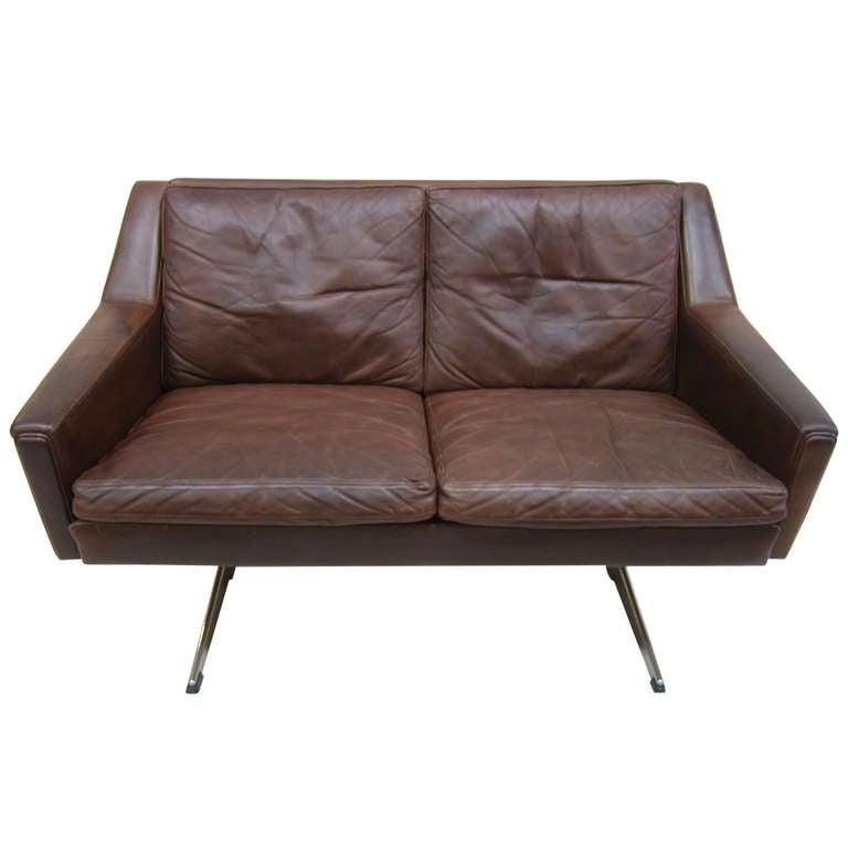 Danish Mid Century Leather Sofa At 1stdibs