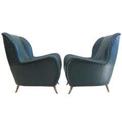 Pair Italian Lounge Chairs Nino Zoncada