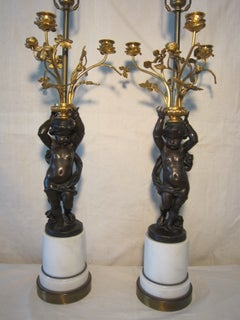 Pair of French 19th Century Bronze Putti Lamp
