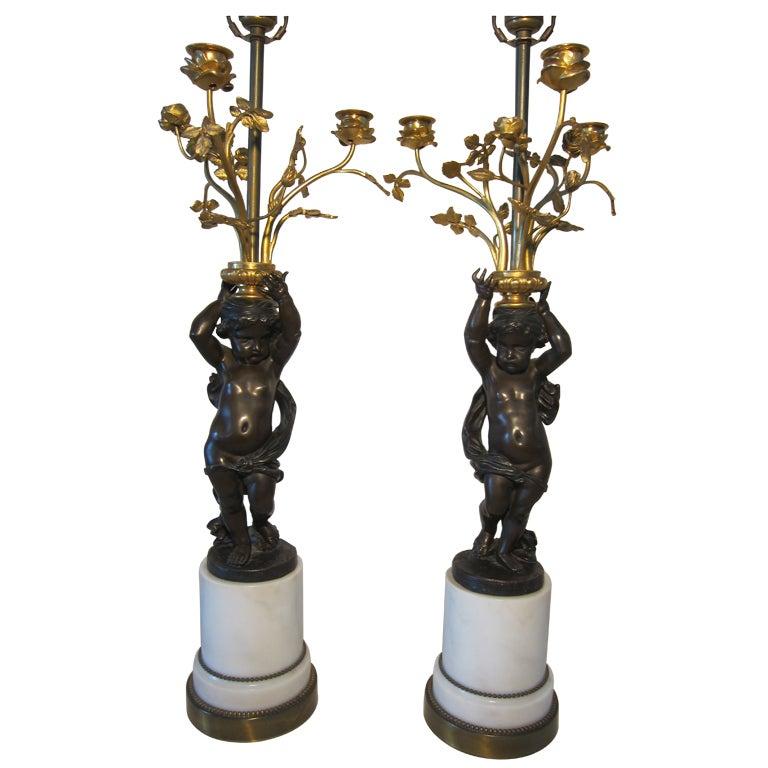 Pair of French 19th Century Bronze Putti Lamp