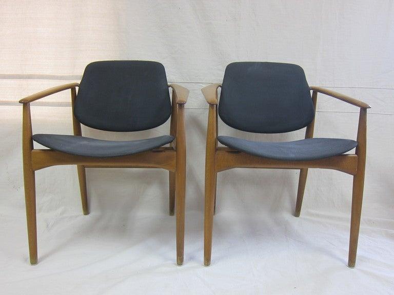 Mid-Century Modern Arne Vodder Armchairs for France & Daverkosen For Sale