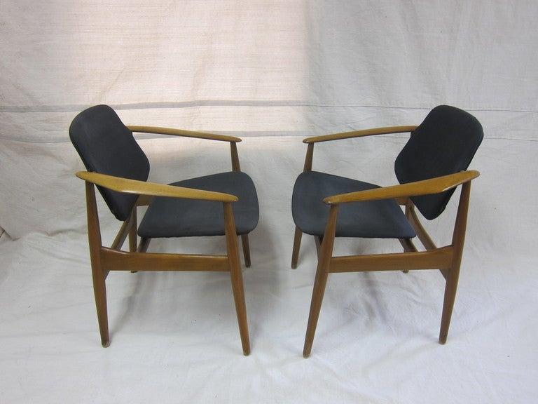 Mid-20th Century Arne Vodder Armchairs for France & Daverkosen For Sale