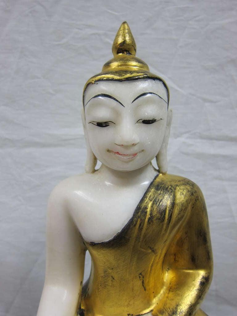 Gilt Burmese Alabaster Buddha For Sale