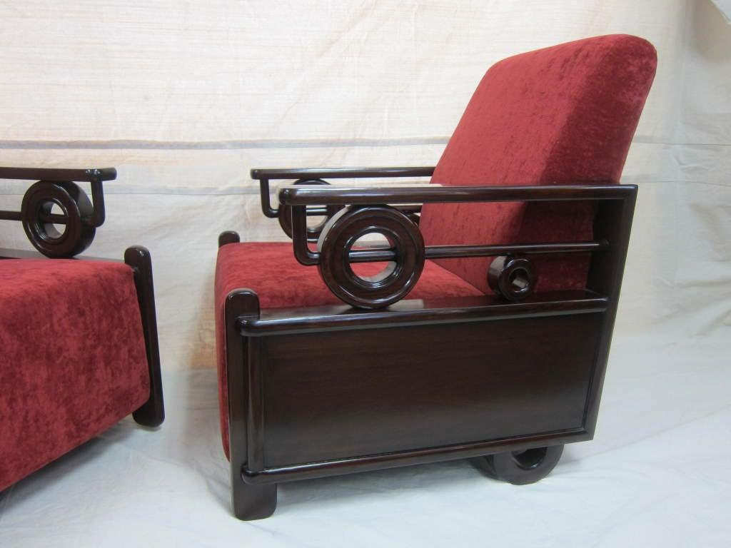 Pair Art Deco Club Chairs 3