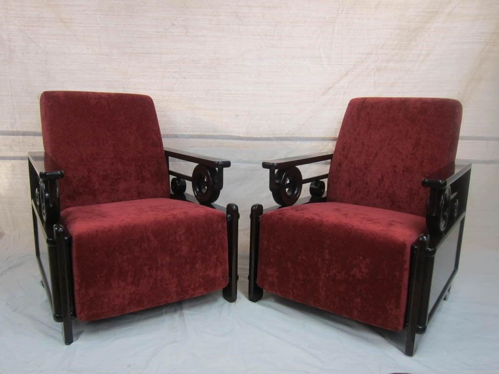 Pair Art Deco Club Chairs 4