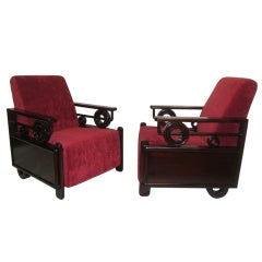 Pair Art Deco Club Chairs