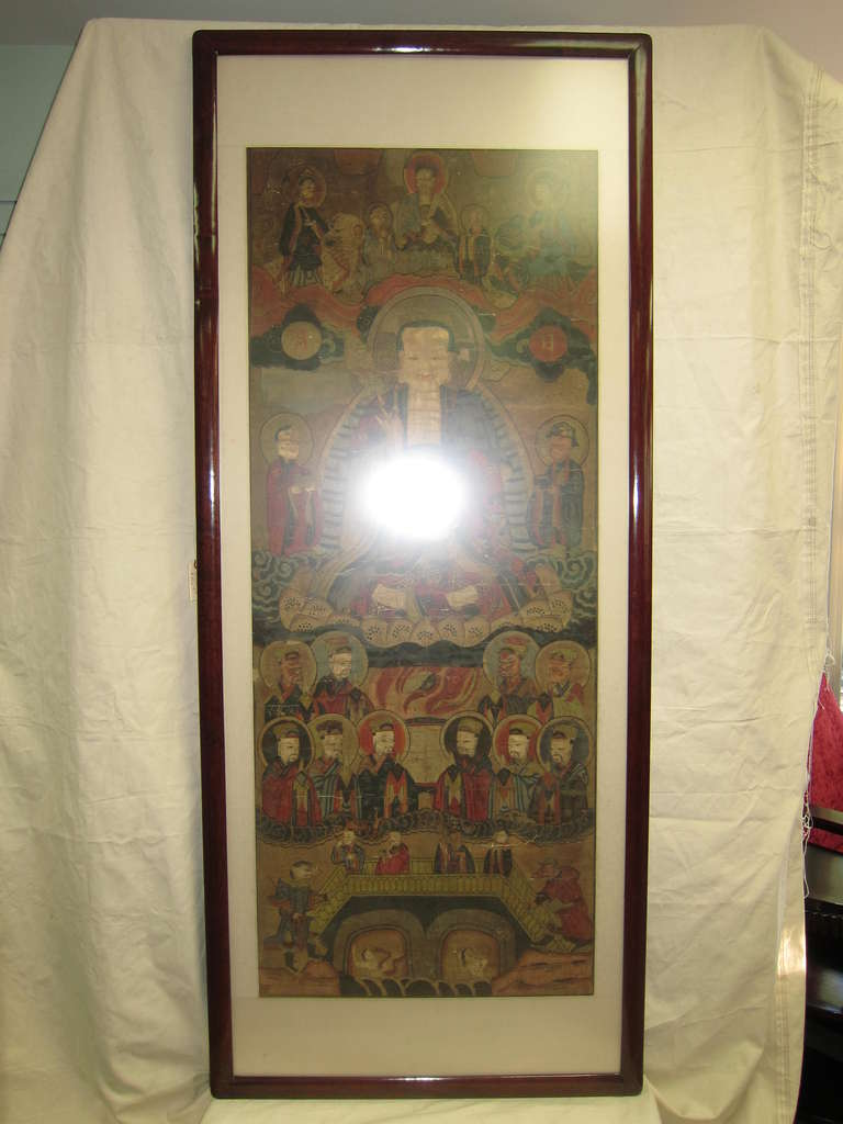 Paper 17th Century Buddhist Chinese Scroll Painting For Sale
