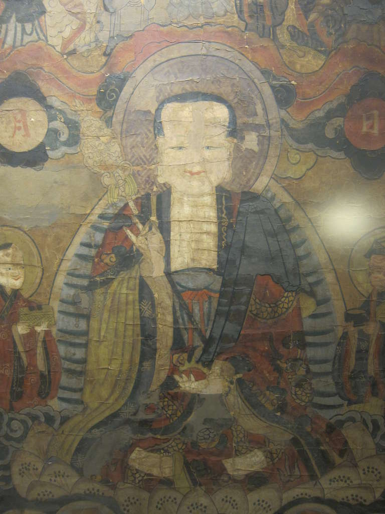 17th Century Buddhist Chinese Scroll Painting In Fair Condition For Sale In New York, NY