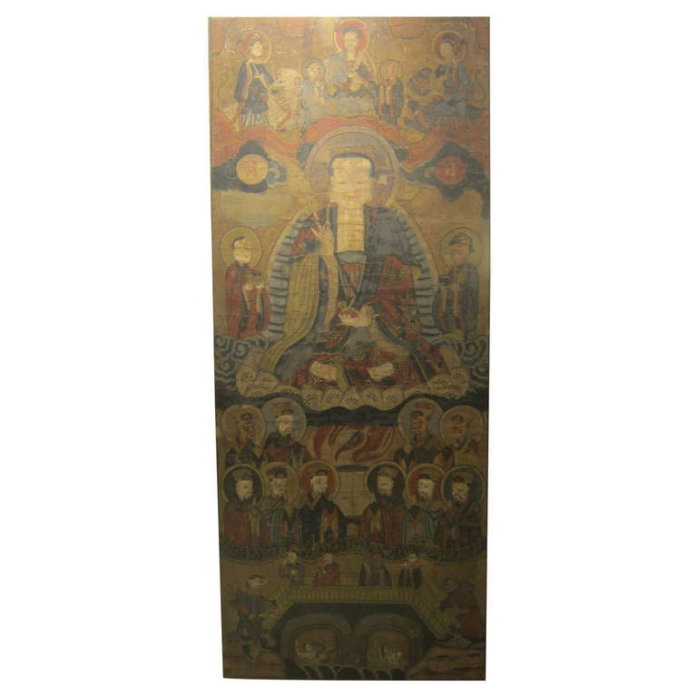 17th Century Buddhist Chinese Scroll Painting For Sale