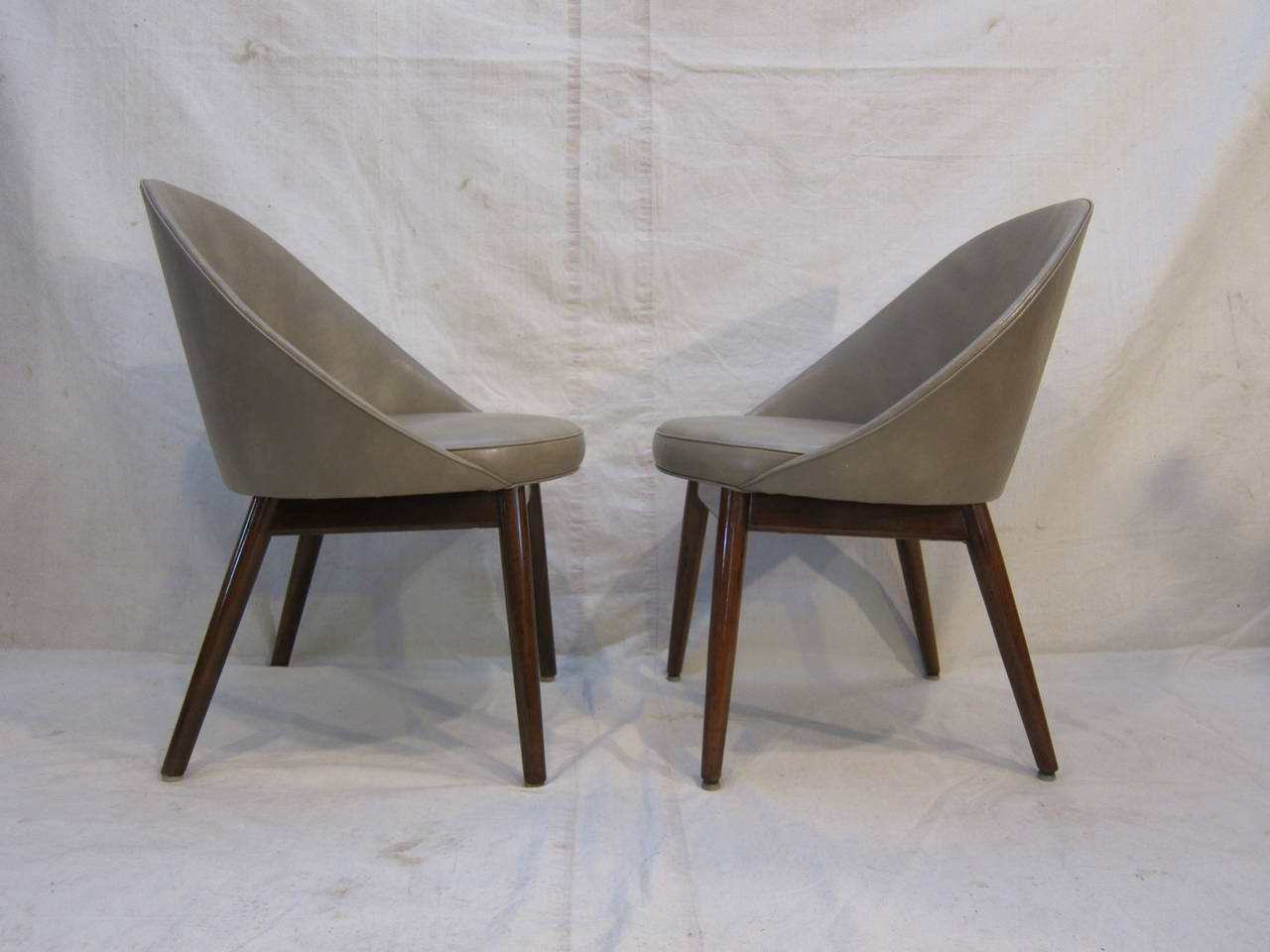Mid-Century pod chairs attributed to Ejvind Johansson.